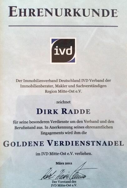 Ehrenurkunde für Dirk Radde vom Immobilienverband Deutschland